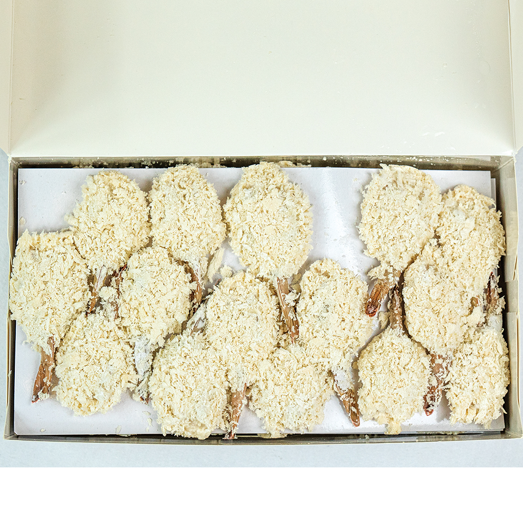 21/25 Hand Breaded Butterfly Shrimp IQF 3# Box Layer Packed