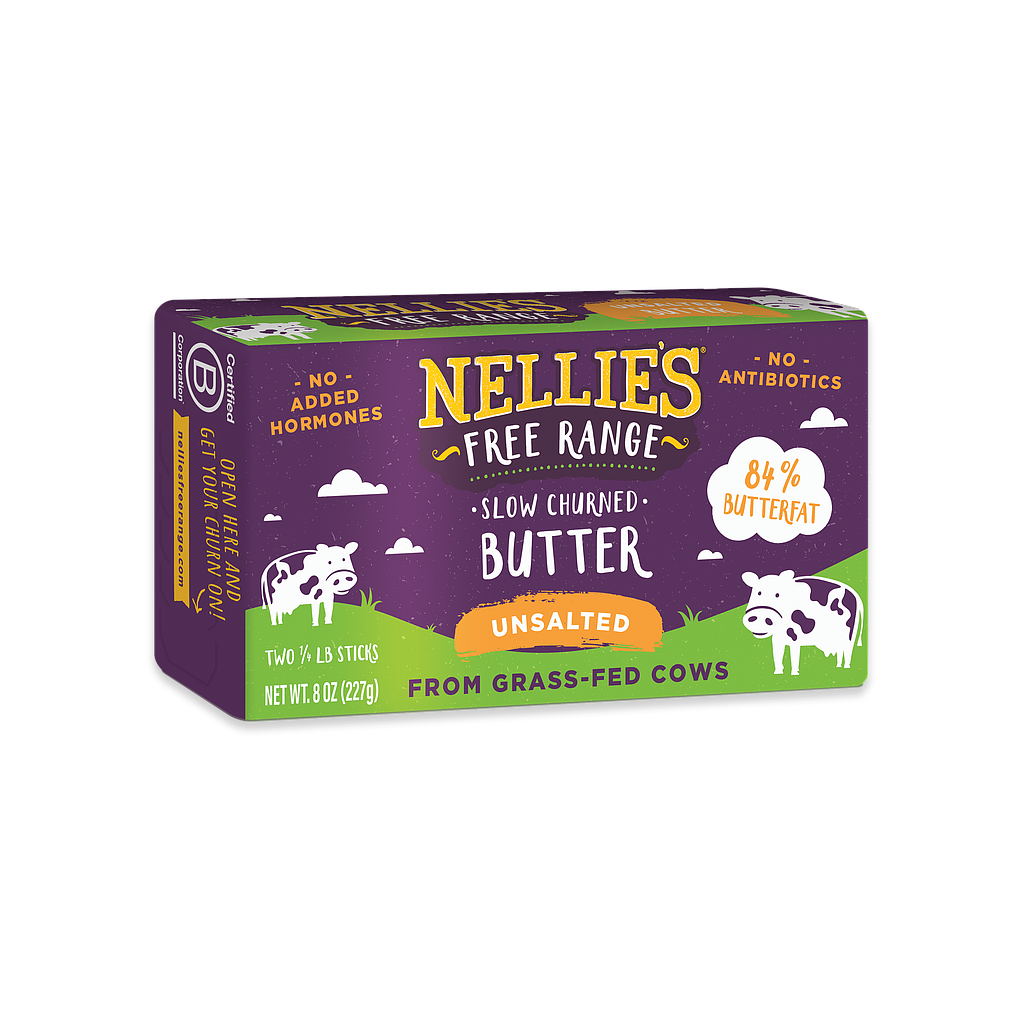 Nellie's Free Range Unsalted Butter - 8 oz